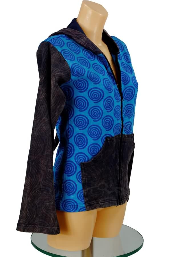 *BÄRES* Elfenjacke Zipfelkapuze Hoodie Jacke Hippie Nepal Batik Goa